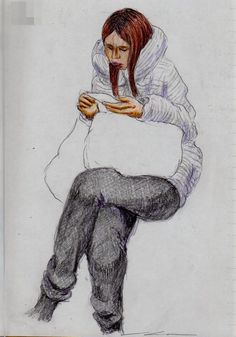 白いコートのお姉さん(通勤電車でスケッチ) This is a woman of sketch wearing a white coat. I drew in a commuter train.