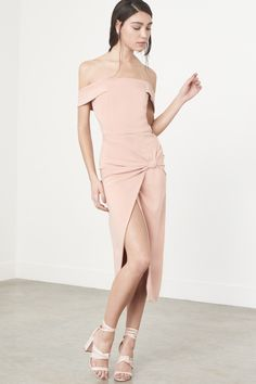 Lavish Alice Knot-Front Bardot Dress in Nude