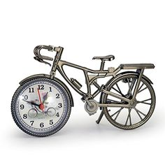 Happytop Portable Handmade Vintage bicycle clock Table Clock For Children Kids Bicycle Alarm Clock Home Art Decoration ** See this great product. (Note:Amazon affiliate link)