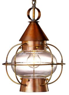 The Cape Cod Onion Pendant Style Hanging Lantern, shown here in our burnished Antique Copper finish with clear glass, is made in America from high quality brass and copper and is designed to last for decades. This classic Cape Cod nautical style lantern works well with traditional, Cape Cod and Colonial style homes, beach homes, lake homes and cabins. www.lanternland.com