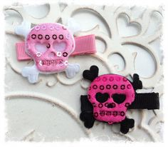 Sequin Skull Clippies/For Infant Toddler Girl by Lillianas on Etsy, $3.00