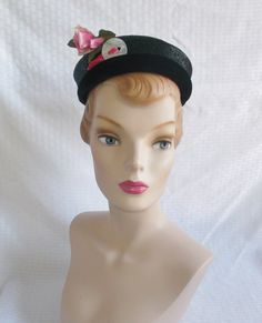 Clearance 1950's Vintage Pill Box Hat with by MyVintageHatShop