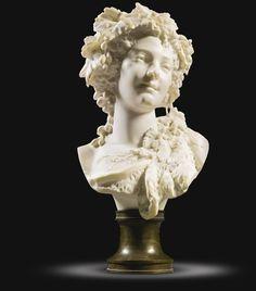 Albert-Ernest Carrier-Belleuse (1824-1887) - Bust of a bacchante