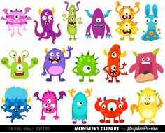 Monster Clipart, Monsters Clip Art, Birthday Clipart, Monster Party, Cute Monsters, Monsters vector, Monster Party, by GraphicPassion on Etsy https://www.etsy.com/listing/248452979/monster-clipart-monsters-clip-art
