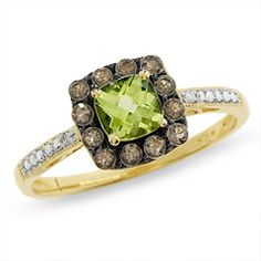 Cushion-Cut Peridot and Smoky Quartz Ring in 10K Gold with Diamond Accents