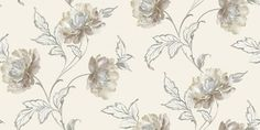 Bronte Neutral (252501) - Arthouse Wallpapers - A flamboyant floral trail with a hand painted effect and subtle colour shading.  Shown in the Neutral colourway with cream and silver grey. Please request sample for true colour match.