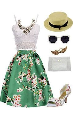 Green Sakura Skater Skirt With Pleat I can see myself in this dress strolling the streets of Paris with my new, ever-so-handome and geeky. husband. •sigh•. Imagination is a wonderful thing.