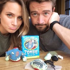 """WHO DOESNT LOVE THEM? """"Today's task was helping Major fight the good fight... We feel bad but our brains WERE at stake! Reunited with my partner in crime @robertearlbuckley xo #besties #zombiehunters #clinn"""" @therealshantel"""
