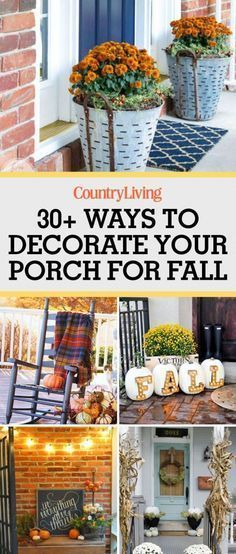 Save these fall porch decorations for later by pinning this image and follow Country Living on Pinterest for more.