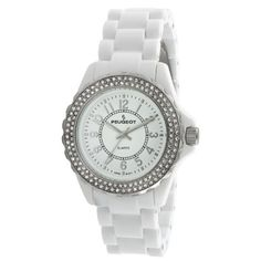 Peugeot Women's 7055WT Swarovski Crystal Bezel White Acrylic Watch