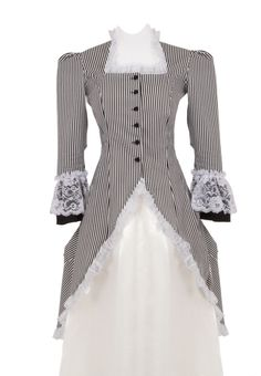Madison Victorian Polonaise - The graceful polonaise jacket is made up in striped cotton and accented with ruffled lace at the collar, cuffs and hem of the extended side and back panels. An extra bustle panel at the center back is made up in black, and also features lace trim.