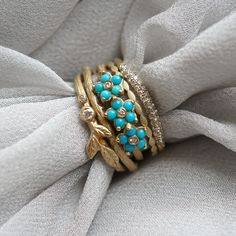 Beautiful turquoise and diamond ring stack.