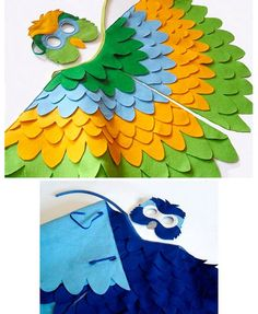 Beautiful costume for the book Cockatoos by Quentin Blake or The Parrot Tico Tango by Anna Witte. Parrot Costume, Bird Costume, Halloween Kostüm, Holidays Halloween, Craft Activities For Kids, Crafts For Kids, Purim Costumes, Toddler Costumes, Homemade Books