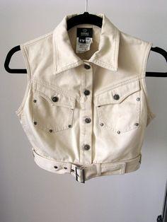 fe2f9c85a13e VERSACE Jeans Couture Beige Color Vest Crop Top