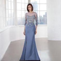 2016 Light Blue Elegant Mother Of The Bride Gowns Mermaid Half Sleeves Sheer Jewel Neck Floor Length Formal Women Party Dress