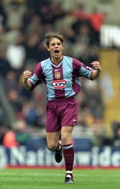 Lee Hendrie of Aston Villa celebrates during the AXA Sponsored FA Cup Semi Final between Aston Villa and Bolton Wanderers at Wembley in London. The game finished Aston Villa won on. Get premium, high resolution news photos at Getty Images Aston Villa Kit, Aston Villa Players, English Football League, Bolton Wanderers, Semi Final, Fa Cup, Football Players, History, Celebrity