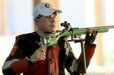 RIO DE JANEIRO, BRAZIL - AUGUST 14: Andre Link of Germany competes in the qualifying match for the 50m Rifle 3 position event on Day 9 of the Rio 2016 Olympic Games at the Olympic Shooting Centre on August 14, 2016 in Rio de Janeiro, Brazil. (Photo by Sam Greenwood/Getty Images) — in Rio de Janeiro, Brazil.