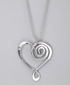 Take a look at this Silver Large Heart Pendant Necklace by aluminations on today! Wire Wrapped Jewelry, Metal Jewelry, Beaded Jewelry, Handmade Jewelry, Wire Jewellery, Rock Jewelry, Jewellery Earrings, Silver Jewelry, Jewelry Crafts