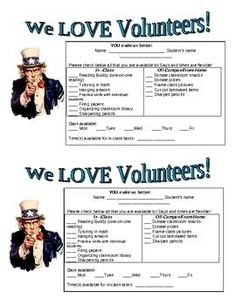 """Parent Volunteer Request Form Great to send home with """"First Day of School"""