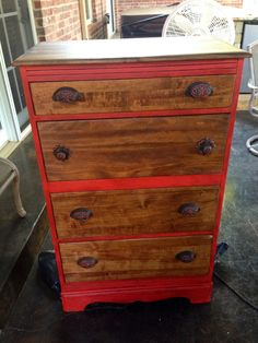 Painted coral cayenne chest and desk. . Refinished refurbished chest. DIY furniture project. Distressed. Dark wax