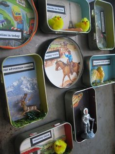 Tins and lids as art magnets