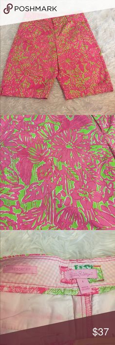 Lilly Pulitzer Chipper size 4 NWOT Shorts NWOT! Size 4 in the Chipper pattern. The last pic is of a similar pattern, so you can have an idea of how the length fits! Very cute bold green and pink colors. Lilly Pulitzer Shorts Bermudas