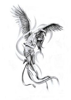 Tender Angel Tattoo Sketch