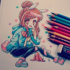 love the colouring -anime bunny girl with bunnies and blue hoodie and black leggings and pink shoes. Anime Drawings Sketches, Anime Sketch, Kawaii Drawings, Manga Drawing, Manga Art, Cute Drawings, Cute Girl Drawing, Anime Chibi, Anime Pokemon