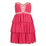 Lipsy Pixie Lott Embellished Tier Dress Raspberry Pink