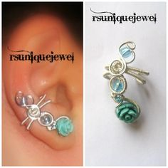Wire Wrapped Blue Rose Ear Cuff Cartilage Earring by rsuniquejewel