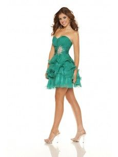 Shop Teal Ruched Strapless Ruffled Short Homecoming Dress at okmarket.com