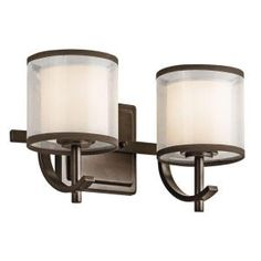 Kichler 45450 2 Light Wide Bathroom Vanity Light with Organza Shades from Mission Bronze Indoor Lighting Bathroom Fixtures Vanity Light Wall Fixtures, Bathroom Fixtures, Bathrooms, Vanity Light Shade, Translucent Glass, Bathroom Vanity Lighting, Light Bathroom, Glass Diffuser, Bath Light