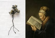 Small flowers made of fabric printed with a Rijksmuseum painting by Puur Anders