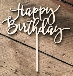 """Add some rustic casual gorgeousness to your cake! This lasercut wooden topper looks amazing on any cake. Size of """"HAPPY BIRTHDAY"""" only is wide x high. Wooden Cake Toppers, Platter, Happy Birthday, Decorations, Happy B Day, Dekoration, Decor, Decoration, Happy Birth Day"""
