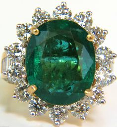 13.01ct NATURAL FINE VIVID GREEN ZAMBIAN EMERALD DIAMOND RING G/VS HUGE