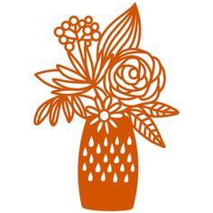 Silhouette Design Store - View Design #157459: vase of garden flowers
