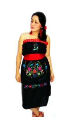 La Pasión de frida mexican embroidered dress by elizabethpalmer, $95.00