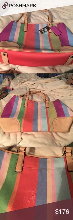 "B1276-19357 Coach Hampton Weekend Stripe Tote Multicolored striped fabric with leather trim. Length 14"". Height 10 1/2"". Width 5 1/2"". Top zip closure. Outside full open pocket. Interior fully lined fabric with one open pocket and one zip pocket. Double handles with 8"" drop. On the last pic you will notice some discoloration from use under the pocket. I did not try to clean it. I felt it was too much trouble for such a small place and for where it is. Coach Bags Totes"