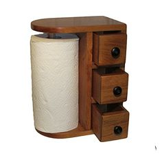 AMISH HANDCRAFTED WOODEN PAPER TOWEL HOLDER STATION with 3 Drawers, Solid Wood, Finished in Beautiful Honey Oak, DESIGNED in a UNIQUE STYLE, Stained & Varnished. Hand Made By - The Amish Guys