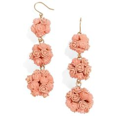 Women's Baublebar Floral Crispin Earrings (2.875 RUB) ❤ liked on Polyvore featuring jewelry, earrings, peach, rose jewelry, drop earrings, rose jewellery, floral jewelry and peach earrings