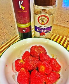 THIS  This totally made my night after a tough workout. Mixed 1 Tbs @kasandrinos Fig Balsamic Vinegar with 1 tsp pure date sugar from @auntpattys (I'm sure their coconut palm sugar would work as well). Drizzled on top of fresh organic strawberries. SO. GOOD.