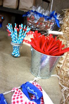 Cowgirl Party center pieces: buckets with candy (got). Cowboy Theme Party, Cowboy Birthday Party, Farm Party, 2nd Birthday Parties, Birthday Fun, Birthday Ideas, Cowboy Baby Shower, Wild West Party, Western Parties