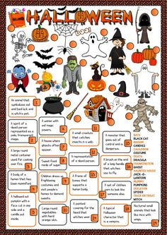 Halloween - definitions Language: English Grade/level: elementary School subject: English as a Second Language (ESL) Main content: Halloween Other contents: Halloween Worksheets, Halloween Games, Halloween Crafts For Kids, Halloween Activities, Worksheets For Kids, Holiday Activities, Holidays Halloween, Halloween Party, Worksheets