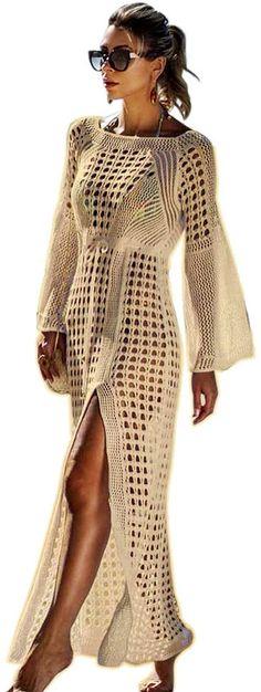 tolles Kleid, genau wie auf der Abbildung  Material: Polyester,Baumwolle Weiches Material, gute Hautberührung, ein bequemes Top für diesen Sommer polyester,baumwolle Dieser gehäkelte Badeanzug verfügt über einen V-Ausschnitt, ein Hohlmuster und ein Strick- und Tunnelzug-Design. Größe: Eine Größe, siehen Sie das Bild, darauf gibt es detailliete Maße. Gelegenheit: Geeignet für den Sommer, ideal für ein Kleid in einem Sonnenstudio, am Strand, am Pool, am Pool und beim Cruisen  Bekleidung… Sexy Bikini, Lace Bikini, Bikini Cover Up, Swimsuit Cover, Bell Sleeve Dress, Bell Sleeves, Long Beach Cover Up, Womens Clothing Stores, Dress Making