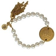 $32.99 Faux pearl bracelet with a B&B logo gold coin and accented with a gold tassel. http://piperlillies.com