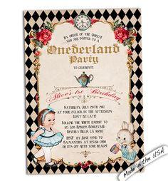 133 best birthday invitations images on pinterest in 2018 invites alice in onederland invitation alice in wonderland first birthday alice in onederland birthday alice and wonderland 1st birthday invites filmwisefo