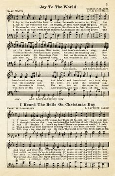 Here is a vintage sheet music graphic that includes two Christmas hymns: Joy To The World and I Heard The Bells On Christmas Day. The page is from the vintage songbook The Golden Book of Favorite S…