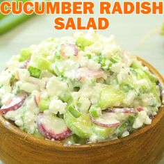 Cucumber Radish Salad - A healthy combination of refreshing cucumbers, crunchy radishes and creamy cottage cheese. Radish Recipes, Asian Recipes, Ethnic Recipes, Healthy Salads, Healthy Eating, Vegetarian Recipes, Healthy Recipes, Fast Recipes, Creamy Cucumbers