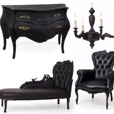Charred wood furniture Black upholstery