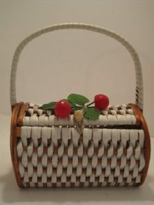 1950's white plaited cherry basket bag pinned by Shannon just so I can repin cherries ...